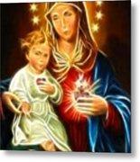 Virgin Mary And Baby Jesus Sacred Heart Metal Print