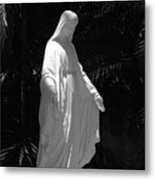 Virgin Mary In Black And White Metal Print