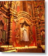 Virgin Mary Statue Candles Mission San Xavier Del Bac Metal Print