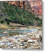 Virgin River In Zion Canyon Metal Print