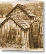 Virginia Country Roads - Mabry Mill No. 23 Sepia - Blue Ridge Parkway, Floyd County Metal Print