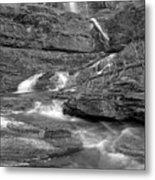 Virginia Falls Glacier Cascades - Black And White Metal Print