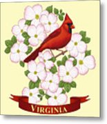 Virginia State Bird Cardinal And Flowering Dogwood Metal Print by Crista Forest