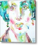 Virginia Woolf Watercolor Portrait Metal Print