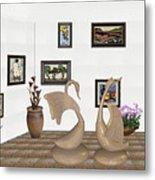 virtual exhibition_Statue of swans 22 Metal Print