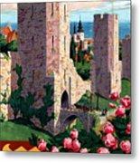 Visby Vintage Travel Poster Restored Metal Print