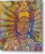 Vishnu Krishna Face Metal Print