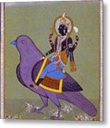 Vishnu On A Bird Metal Print