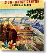 Visit Grand Canyon - Vintgelized Metal Print