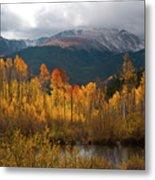 Vivid Autumn Aspen And Mountain Landscape Metal Print