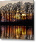 Vivid Sunset On The Lake In Olney Metal Print