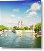Notre Dame And River Seine Metal Print