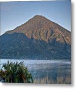 Volcano And Reflection Lake Atitlan Guatemala Metal Print