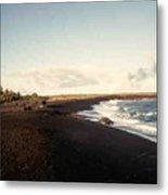 Volcano Black Sand Beach Metal Print