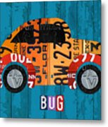 Volkswagen Vw Bug Vintage Classic Retro Vehicle Recycled License Plate Art Usa Metal Print