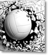 Volleyball Ball Breaking Forcibly Through A White Wall. 3d Illustration. Metal Print