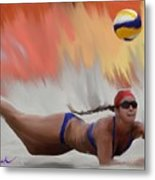 Volleyball Dig Metal Print