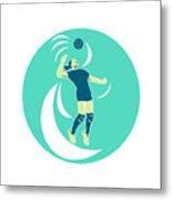 Volleyball Player Spiking High Circle Retro Metal Print