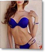Voula Blue Bikini Metal Print