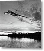Vulcan Low Over A Sunset Lake Sunset Lake Bw Metal Print