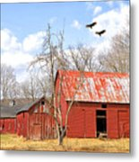 Vultures Over Barn Metal Print