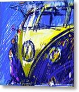 Vw Bus Blue Metal Print