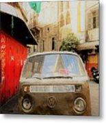Vw Bus Parked In Basta Beirut  Metal Print