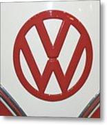 Vw Emblem In Red Metal Print