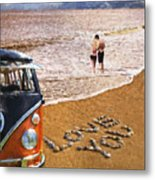Vw Love On Beach Metal Print