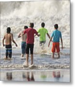 Wading In The Surf Metal Print
