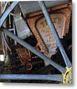 Wagon Wheel And Grass Seeder Metal Print