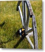 Wagon Wheel In Grass Metal Print