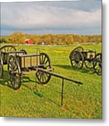 Wagons Used In The Civil War In Gettysburg National Military Park-pennsylvania Metal Print