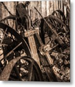 Wagons Whoa Bw Metal Print