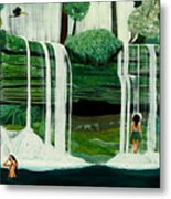 Wahines In Waterfall Metal Print