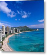 Waikiki And Diamond Head Metal Print