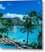 Waikiki And Sailboat Metal Print