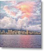 Waikiki Beach Sunset Metal Print