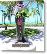 Waikiki Statue - Prince Kuhio Metal Print