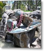 Waikiki Statue - Surfer Boy And Seal Metal Print