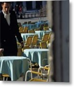 Waiter Preparing For The Day In Piazza San Marco In Venice Metal Print
