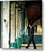 Waiter Walking At San Marco In Venice Metal Print