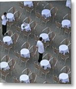 Waiters At Empty Cafe Terrace On Piazza San Marco Metal Print