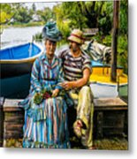 Waiting By The Boats Metal Print
