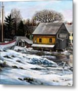 Essex Boatyard, Winter Metal Print