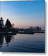 Waiting For Sunrise - Blue Hour At The Lighthouse Infused With Soft Pink Metal Print