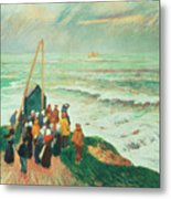 Waiting For The Return Of The Fishermen In Brittany Metal Print by Henry Moret