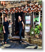 Waitresses At Outdoor French Terroir In Old Quebec City Metal Print