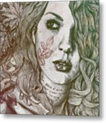 Wake - Autumn - Street Art Woman With Maple Leaves Tattoo Metal Print