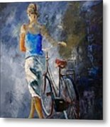 Waking Aside Her Bike 68 Metal Print